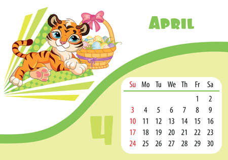 Horizontal desktop childrens calendar design for April 2022, the year of the Tiger in the Chinese calendar. Cute tiger character with basket of Easter eggs. Vector illustration. Week start in Sunday.