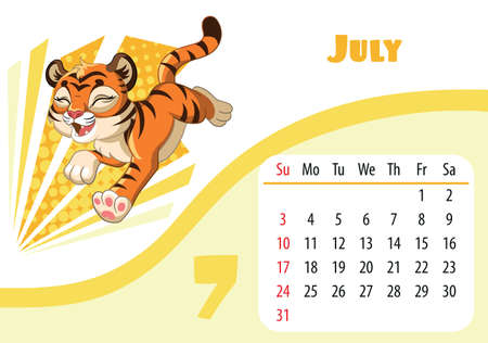 Horizontal desktop childrens calendar design for July 2022, the year of the Tiger in the Chinese calendar. Cute running happy and joy tiger cub character. Vector illustration. Week start in Sunday.