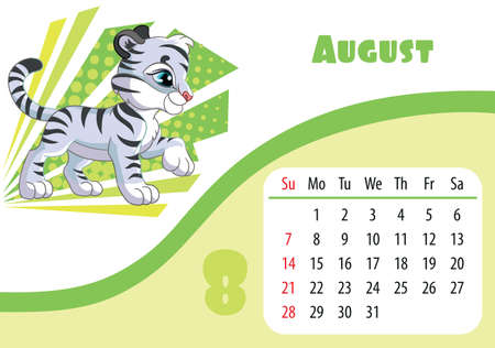 Horizontal desktop childrens calendar design for August 2022, the year of the Tiger in the Chinese calendar. Cute cartoon white tiger cub character. Vector illustration. Week start in Sunday. Иллюстрация