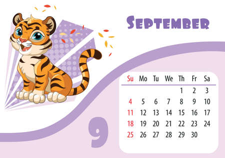 Horizontal desktop childrens calendar design for September 2022, the year of the Tiger in the Chinese calendar. Cute sitting tiger cub character with leaf fall. Vector illustration. Week start in Sunday.