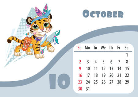 Horizontal desktop childrens calendar design for October 2022, the year of the Tiger in the Chinese calendar. Cute tiger cub in halloween Indian costume. Vector illustration. Week start in Sunday.
