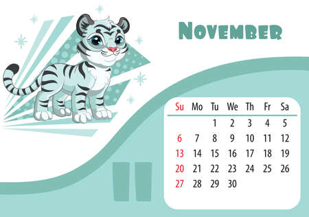 Horizontal desktop childrens calendar design for November 2022, the year of the Tiger in the Chinese calendar. Cute standing tiger character with snowflakes. Vector illustration. Week start in Sunday