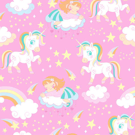 Pink seamless vector pattern with unicorns and sleeping girl