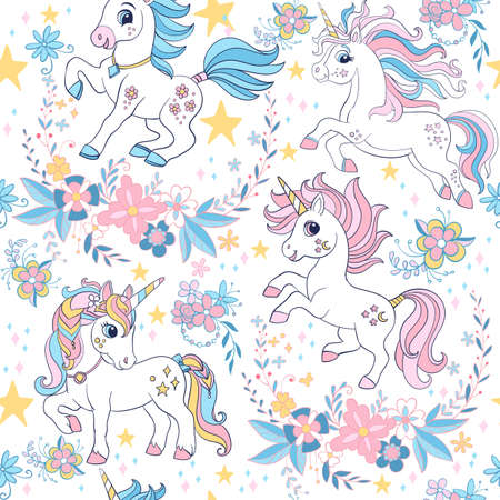 Seamless vector pattern with unicorns and floral elements white