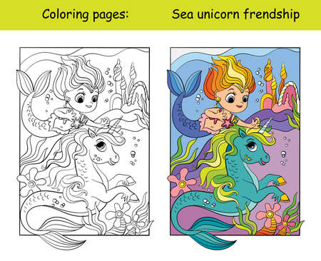 Coloring and color swimming unicorn and mermaid 向量圖像