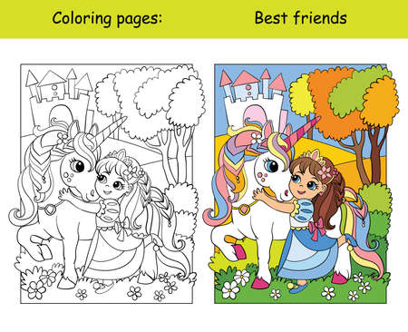 Coloring and color cute princess hugs with a unicorn