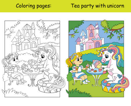 Coloring and color unicorn drive a car