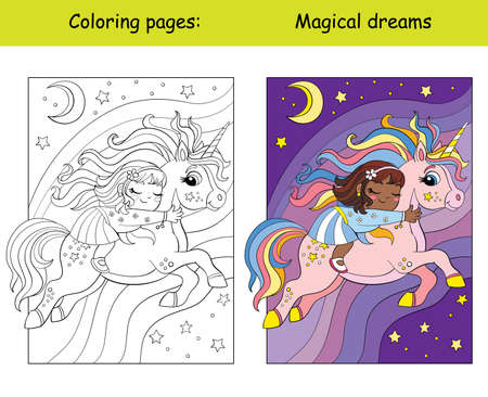 Coloring and color black girl sleeps on back of a flying unicorn