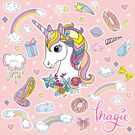 Sticker pack cute cartoon unicorn head vector illustration 向量圖像