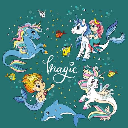 Set of cute cartoon sea unicorns and mermaids vector illustration 向量圖像