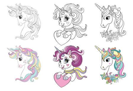 Set of three cartoon unicorns heads coloring vector 向量圖像