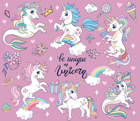 Set of cute cartoon unicorns and sea unicorns vector illustration