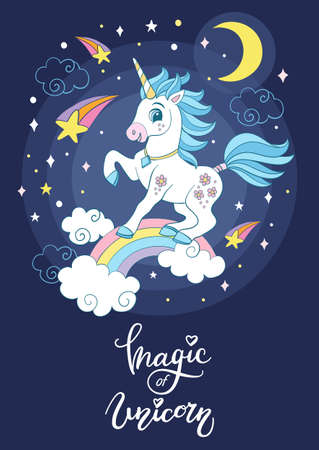 Cartoon cosmic unicorn with stars vector poster 向量圖像