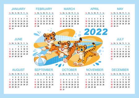 Cute tiger horizontal wall calendar template 2022 vector blue