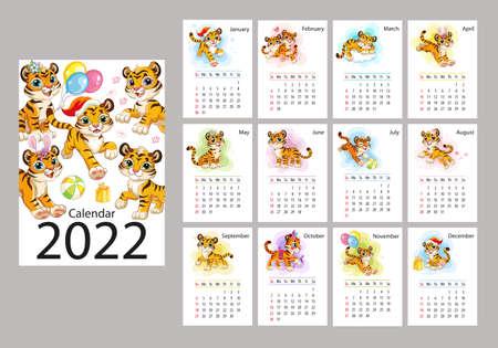 2022 Vertical calendar design with cute cartoon tigers vector