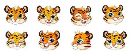 Set of cute cartoon tiger cubs heads vector 向量圖像