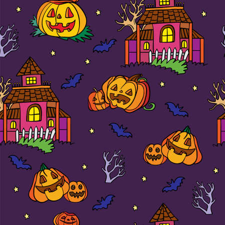 Vector seamless pattern for Halloween with pumpkin and ghost house 向量圖像
