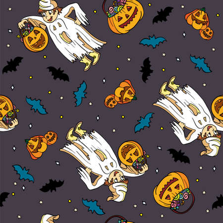 Vector seamless pattern for Halloween with a boy in a ghost costume