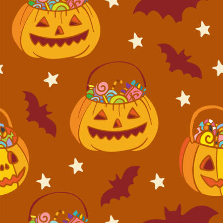 Vector seamless pattern for Halloween with pumpkins and bats