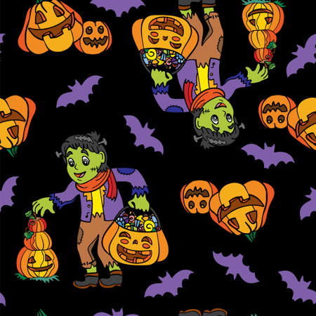 Vector seamless pattern for Halloween with a boy in costume
