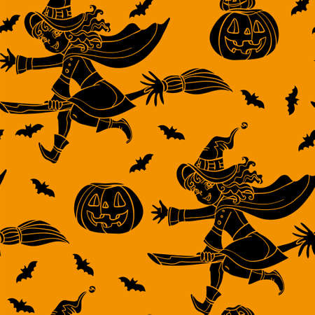 Vector seamless pattern for Halloween with pumpkin and witch