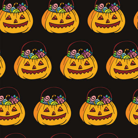 Vector seamless pattern for Halloween with pumpkins and sweets