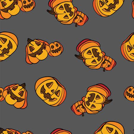 Vector seamless pattern with cute Halloween pumpkins 向量圖像