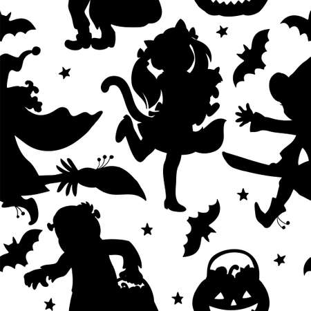 Vector seamless pattern with silhouette of children in halloween costumes