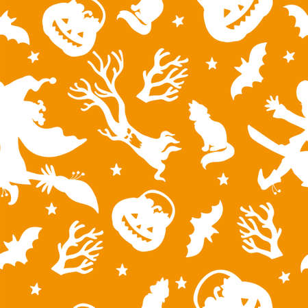 Vector seamless pattern for Halloween with witch silhouette 向量圖像