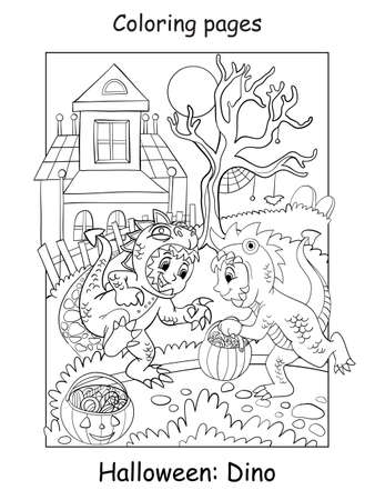 Vector coloring pages funny boys in dinosaur costume. Halloween concept. Cartoon contour illustration isolated on white background. Coloring book for children, preschool education, print and game.