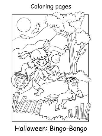 Vector coloring page funny girl in aborigine costume dancing with dog. Halloween concept. Cartoon contour isolated illustration. Coloring book for children, preschool education, print and game.