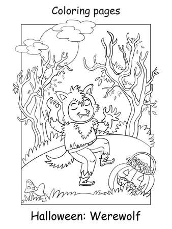 Vector coloring page funny boy in werewolf costume in scary forest. Halloween concept. Cartoon contour isolated illustration. Coloring book for children, preschool education, print and game.