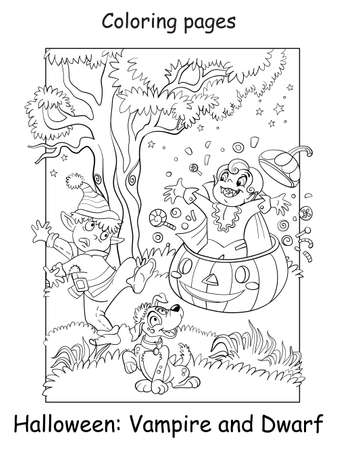 Vector coloring page funny vampire jumped out of a pumpkin and scared dwarf. Halloween concept. Cartoon contour isolated illustration. Coloring book for children, preschool education, print and game 向量圖像