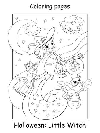 Vector coloring page cute little witch flying on a broomstick with cat and owl. Halloween concept. Cartoon contour isolated illustration. Coloring book for children, preschool education, print and game