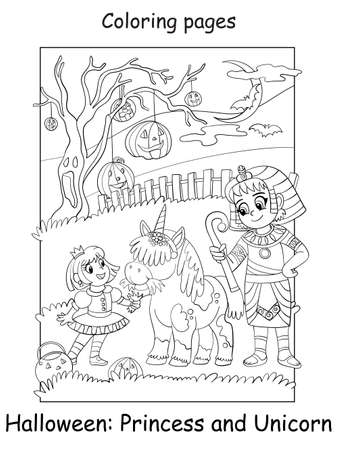 Vector coloring page kids in costume princess with a unicorn and an Egyptian. Halloween concept. Cartoon contour isolated illustration. Coloring book for children, preschool education, print and game.