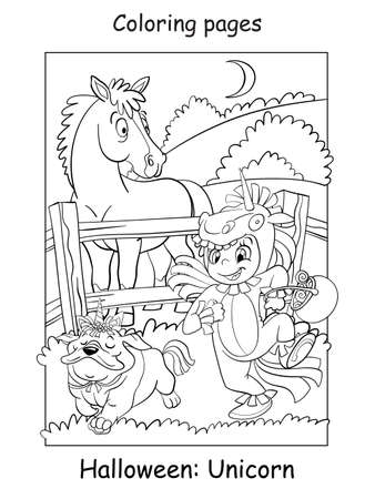 Vector coloring page girl with a dog in unicorn costumes and surprised horse. Halloween concept. Cartoon contour isolated illustration. Coloring book for children, preschool education, print and game.