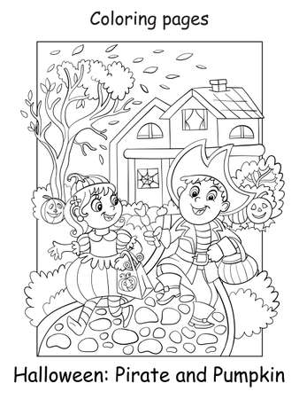 Coloring Halloween children in costumes of pumpkin and pirate