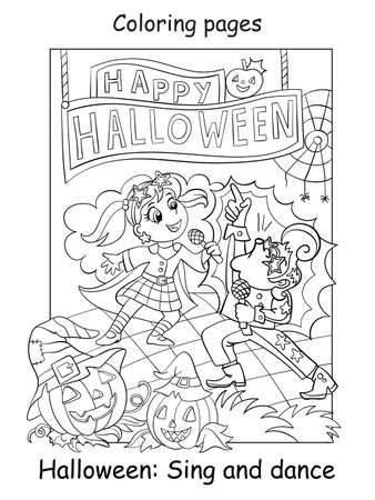 Coloring Halloween children in costumes of retro singers