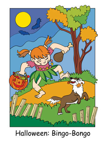 Funny girl in aborigine costume dancing with a dog. Halloween concept. Cartoon vector illustration. Stock illustration for design, preschool education, decor, print and game.
