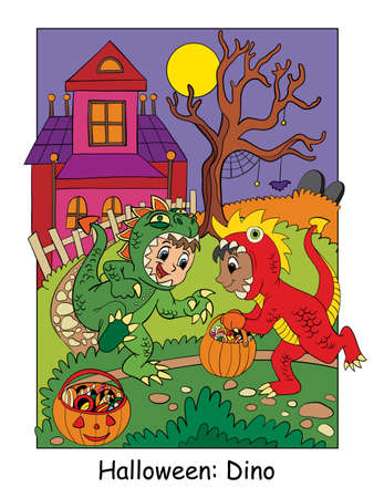 Funny boys in dinosaur costume. Halloween concept. Cartoon vector illustration. Stock illustration for design, preschool education, decor, print and game. 向量圖像