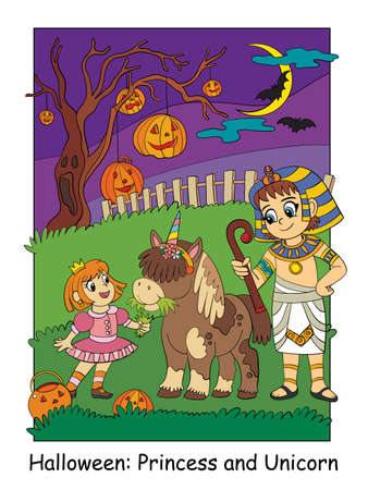 Girl in costume of princess with a unicorn and an Egyptian. Halloween concept. Cartoon vector illustration. Stock illustration for design, preschool education, decor, print and game.