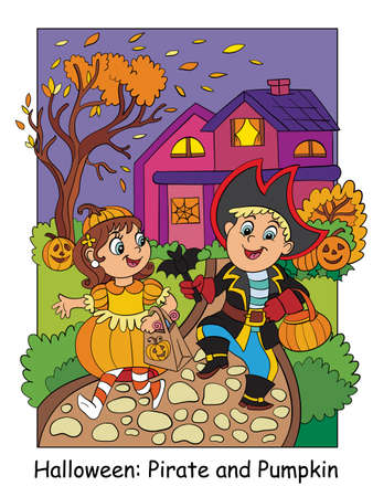 Children in costumes of pumpkin and pirate. Halloween concept. Cartoon vector illustration. Stock illustration for design, preschool education, decor, print and game.