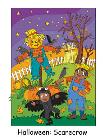 Funny children in costumes of scarecrow and crow on a field. Halloween concept. Cartoon vector illustration. Stock illustration for design, preschool education, decor, print and game.