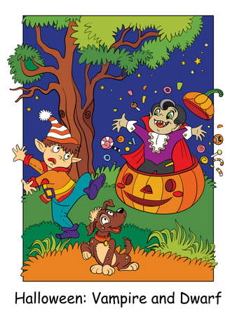 Funny vampire jumped out of a pumpkin and scared dwarf. Halloween concept. Cartoon vector illustration. Stock illustration for design, preschool education, decor, print and game.