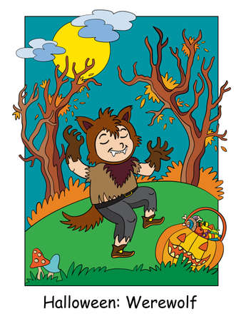 Funny boy in werewolf costume in scary forest. Halloween concept. Cartoon vector illustration. Stock illustration for design, preschool education, decor, print and game. 向量圖像