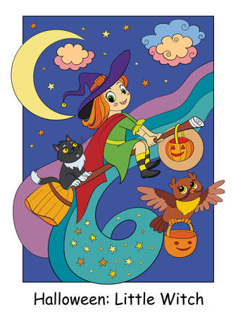 Funny and cute little witch flying on a broomstick with cat and owl. Halloween concept. Cartoon vector illustration. Stock illustration for design, preschool education, decor, print and game.