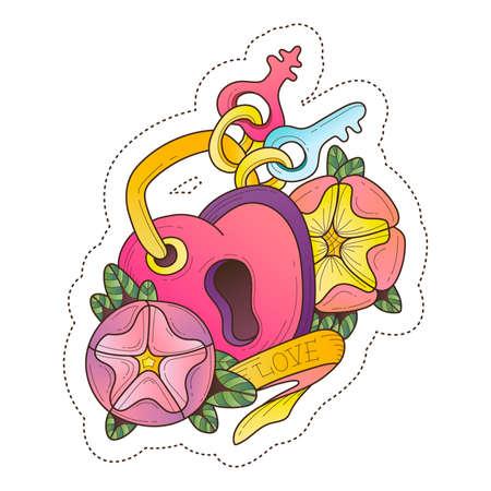 door lock love: nakleyka.lyubov.vektornaya bright illustration
