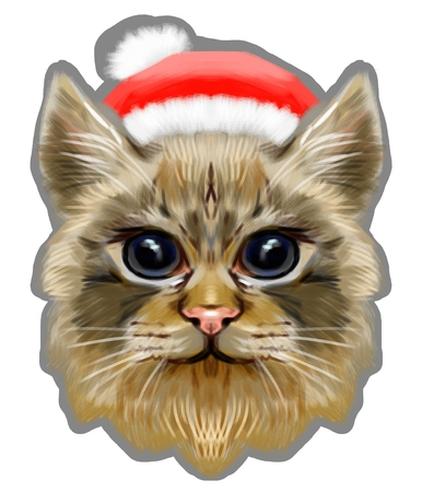Cat in red santa hat in pastel style