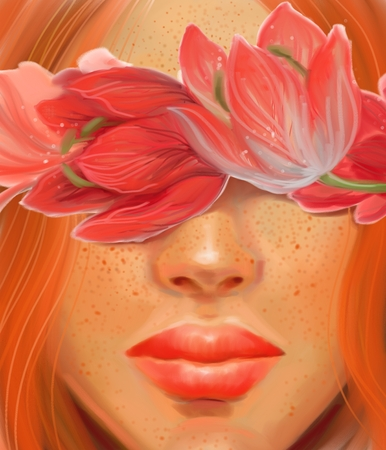 Pretty girl with red hair and flowers in digital oil painting style