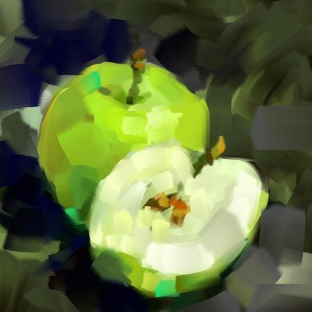 Green apple in digital painting style Zdjęcie Seryjne